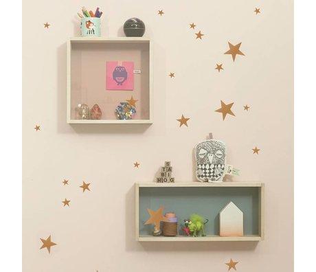 Ferm Living Muurstickers Mini Stars koper vinyl 54 stuks op A4