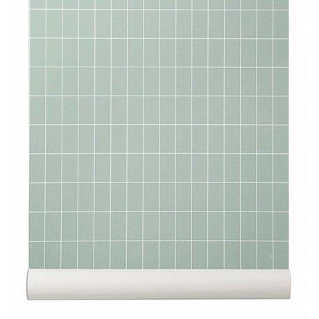 Ferm Living Behang Grid licht groen/wit papier 10.05x0.53cm