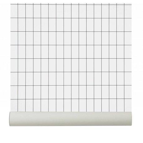 Ferm Living Behang Grid zwart/wit papier 10.05x0.53cm