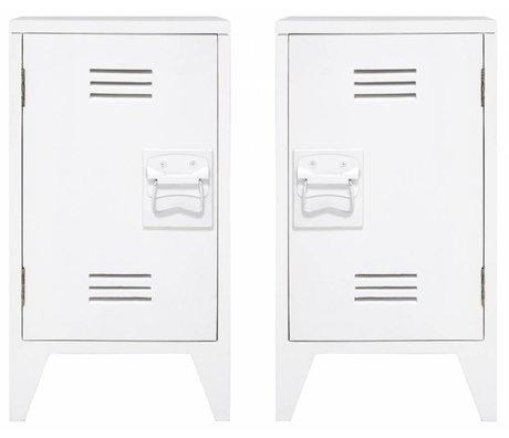 HK-living Nachtkastje locker set van 2 wit hout 65x36x33cm