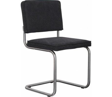 Zuiver Eetkamerstoel geborsteld buisframe metaal antraciet grijs katoen 48x48x85cm, Chair Ridge brushed vintage charcoal