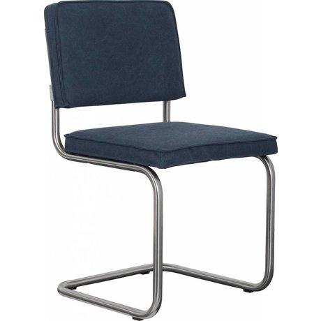 Zuiver Eetkamerstoel geborsteld buis frame marine blauw katoen 48x48x85cm, Chair Ridge brushed vintage sailor blue