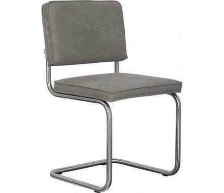 Zuiver Eetkamerstoel geborsteld buis frame grijs/groen katoen 48x48x85cm, Chair Ridge brushed vintage worn green
