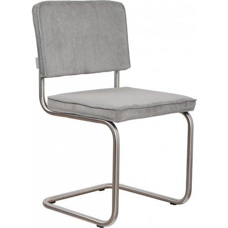 Zuiver Eetkamerstoel geborsteld buis frame koel grijs ribstof 48x48x85cm, Chair Ridge brushed rib cool grey 32A