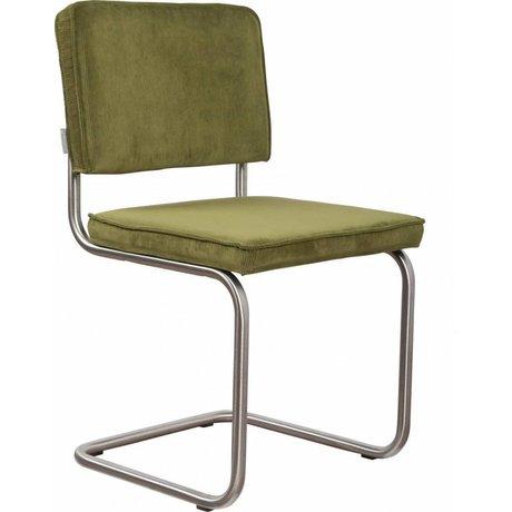 Zuiver Eetkamerstoel geborsteld buis frame groen ribstof 48x48x85cm, Chair Ridge brushed rib green 25A