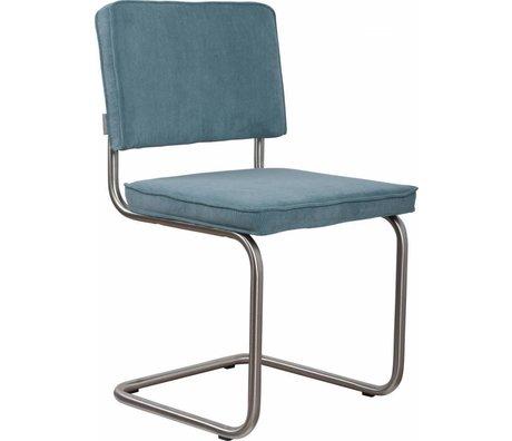 Zuiver Eetkamerstoel geborsteld buis frame blauw ribstof 48x48x85cm, Chair Ridge brushed rib blue 12A
