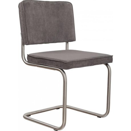 Zuiver Eetkamerstoel geborsteld buis frame grijs ribstof 48x48x85cm, Chair Ridge brushed rib grey 6A