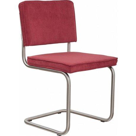 Zuiver Eetkamerstoel geborsteld buis frame rood ribstof 48x48x85cm, Chair Ridge brushed rib red 21A