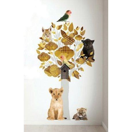 KEK Amsterdam Muursticker safari boom geel vinyl 88x145cm, Safari Friends Tree