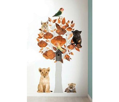 KEK Amsterdam Muursticker safari boom oranje vinyl 88x145cm, Safari Friends Tree