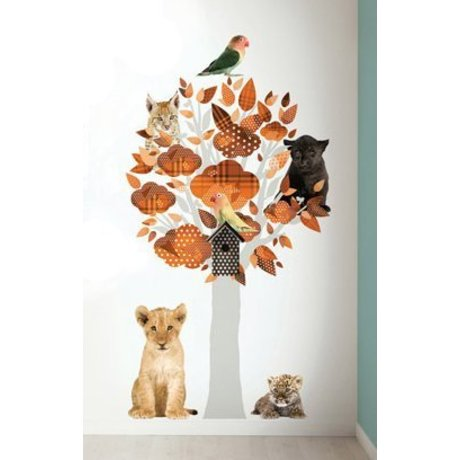 KEK Amsterdam Muursticker safari boom oranje vinyl 88x145cm, Safari Friends Tree