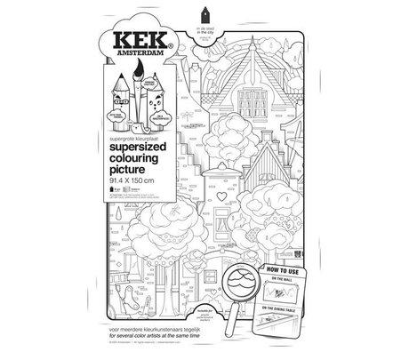 KEK Amsterdam XXL Kleurplaat papier zwart wit 91x150cm, In de stad