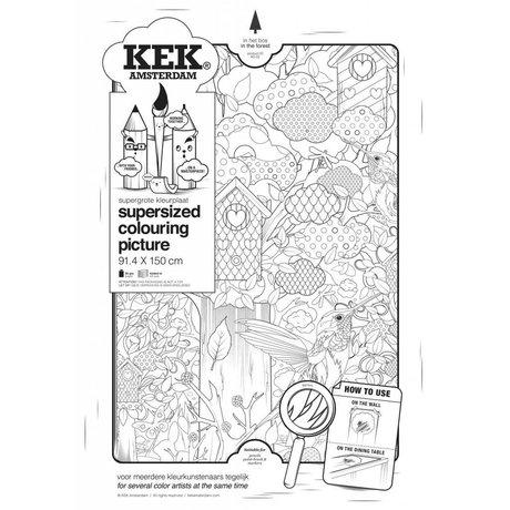 KEK Amsterdam XXL Kleurplaat papier zwart wit 91x150cm, In het bos