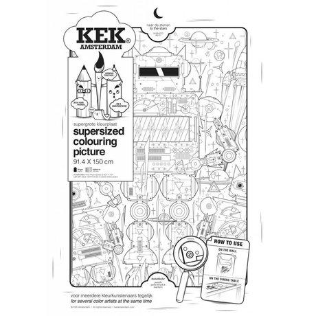 KEK Amsterdam XXL Kleurplaat papier zwart wit 91x150cm, Naar de sterren