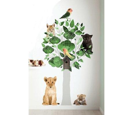 KEK Amsterdam Muursticker groen vinyl 88x145cm, Safari Friends Tree