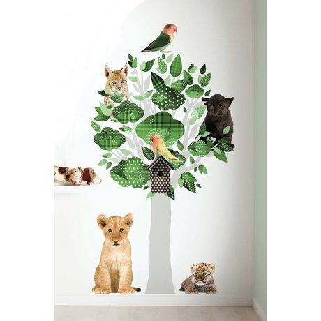 KEK Amsterdam Muursticker groen vinyl 88x145cm, Safari Friends Tree