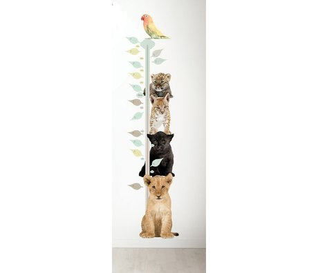 KEK Amsterdam Muursticker en groeimeter multicolour bruin vinyl 40x150cm, Safari Friends Growth chart 1