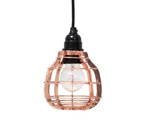 HK-living Hanglamp LAB met stekker koper metaal Ø13x17cm, LAB lamp koper