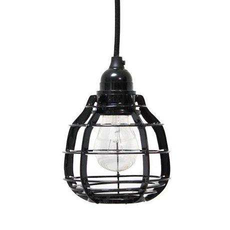 HK-living Hanglamp LAB met stekker zwart metaal Ø13x17cm, LAB lamp zwart