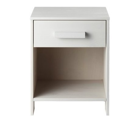 LEF collections Nachtkastje 'Robin' wit geborsteld grenen 40x34x52cm