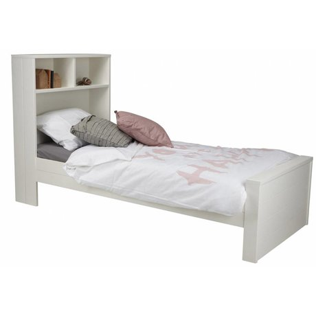 LEF collections Bed 'Max' wit grenen 123x220x95cm