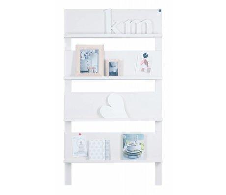 LEF collections Rek '101' voor tegen de muur wit geborsteld grenen 178X80X11cm