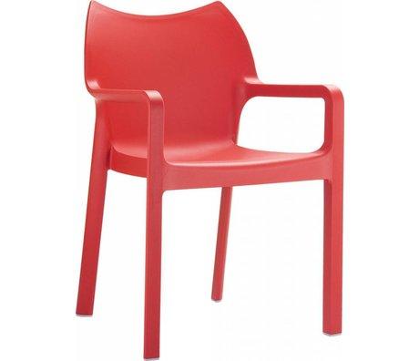 Zuiver Stoel Diva rood kunststof 84x57x53cm voor buiten en binnen