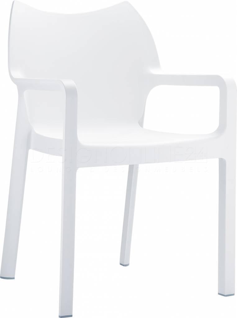 Witte stoelen buiten halve parasol for Buiten stoelen