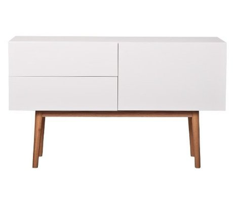 Zuiver Dressoir wit MDF, naturel eiken 120x40x71.5cm,CABINET HIGH ON WOOD 2DR 1DO