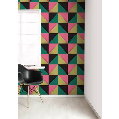 KEK Amsterdam Behang multicolour/roze driehoeken 8,3mx47,5cm 4m²