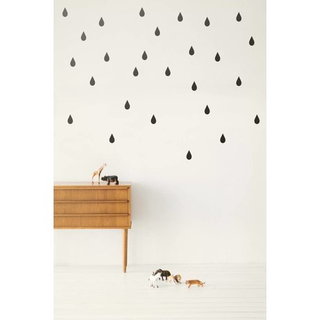 Ferm Living Muursticker druppels Wall Stickers - Mini Drops zwart