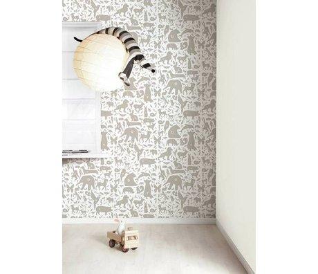 KEK Amsterdam Behang taupe/wit Alfabet Beestjes 8,3mx47,5cm 4m²