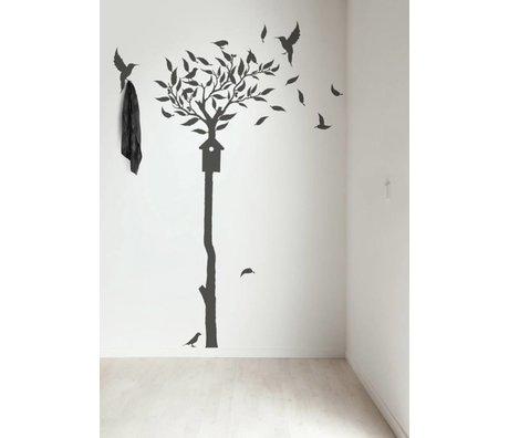 KEK Amsterdam Muursticker/Kapstok donker grijs 90x240cm Fashion Forest 2 muurfolie