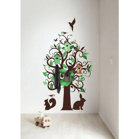 KEK Amsterdam Muursticker/Kapstok groen 95x150cm Birdhouse Tree muurfolie