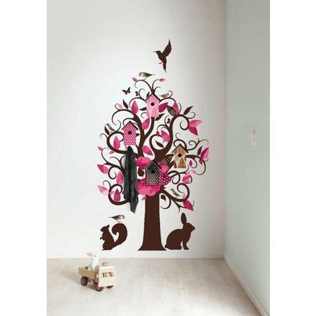 KEK Amsterdam Muursticker/Kapstok roze 95x150cm Birdhouse Tree muurfolie