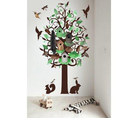 KEK Amsterdam Muursticker/Kapstok groen 120x220cm Birdhouse Tree XL muurfolie