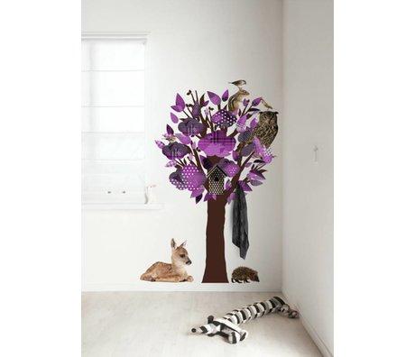 KEK Amsterdam Muursticker/Kapstok paars 95x150cm Forest Friends Tree muurfolie
