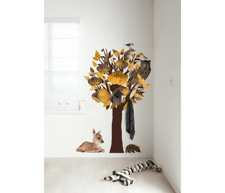 KEK Amsterdam Muursticker/Kapstok geel 95x150cm Forest Friends Tree muurfolie