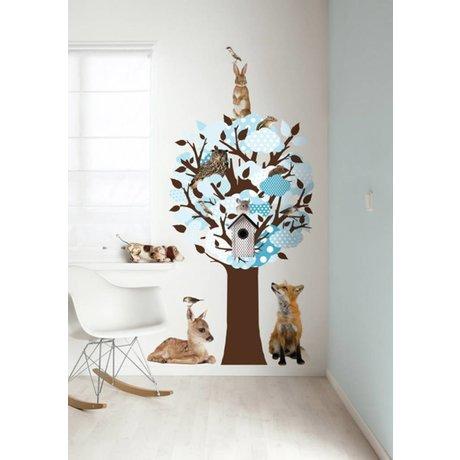 KEK Amsterdam Muursticker/Kapstok blauw 95x150cm Softtone Tree muurfolie