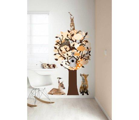 KEK Amsterdam Muursticker/Kapstok oranje 95x150cm Softtone Tree muurfolie