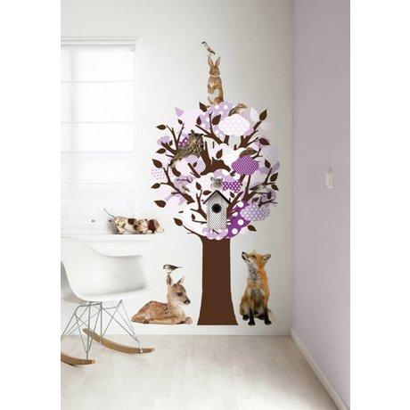 KEK Amsterdam Muursticker/Kapstok paars 95x150cm Softtone Tree muurfolie