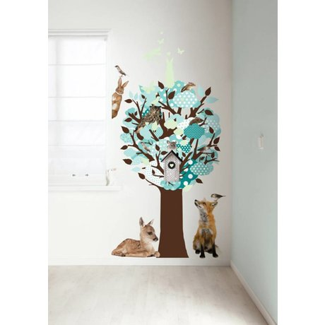 KEK Amsterdam Muursticker turquoise 95x150cm Glow-in-the-dark Tree muurfolie