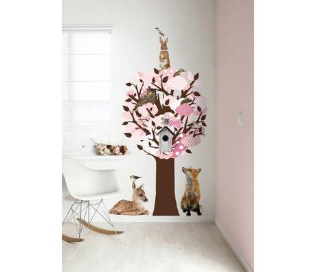 KEK Amsterdam Muursticker/Kapstok roze 95x150cm Softtone Tree muurfolie