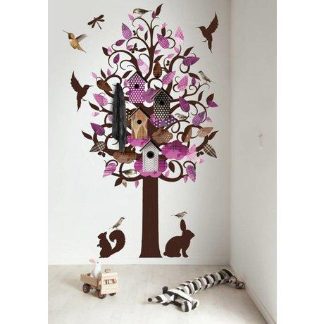 KEK Amsterdam Muursticker/Kapstok paars 120x220cm Birdhouse Tree XL muurfolie