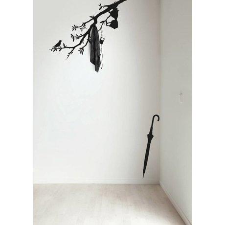 KEK Amsterdam Muursticker/Kapstok zwart 116x42cm Beautiful Branch muurfolie