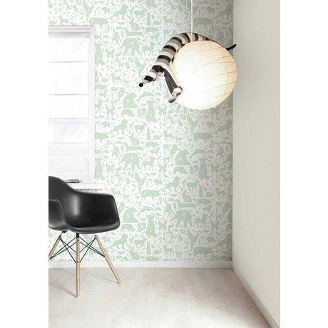 KEK Amsterdam Behang groen/wit Alfabet Beestjes 8,3mx47,5cm 4m²