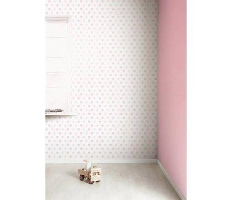 KEK Amsterdam Behang roze/wit Hartjes 8,3mx47,5cm 4m²