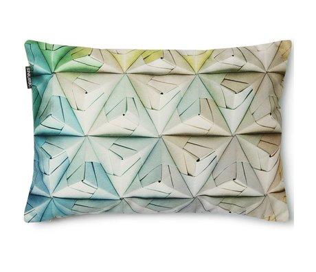 Snurk Beddengoed Sierkussen hoes Geogami groen/ blauw, 35x50cm