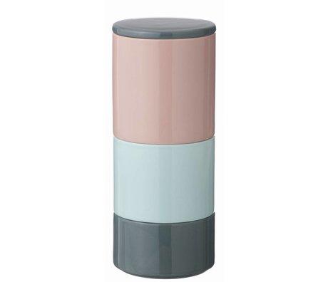 Ferm Living Voorraadpotjes Stackable Jars stapelbaar porselein roze/grijs/mint 10x24cm