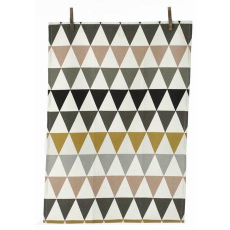 Ferm Living Theedoek triangle multicolour katoen 50x70cm